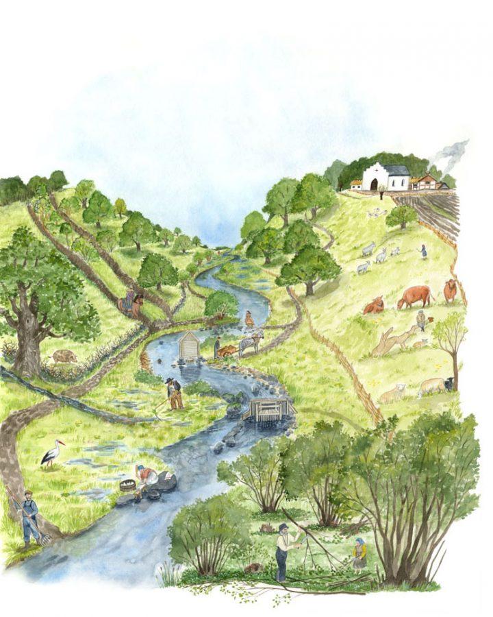 Miljöbild som skildrar livet vid Råån historiskt. Illustration till projektet Naturpunkt Råån, uppdragsgivare Helsingborgs kommun.