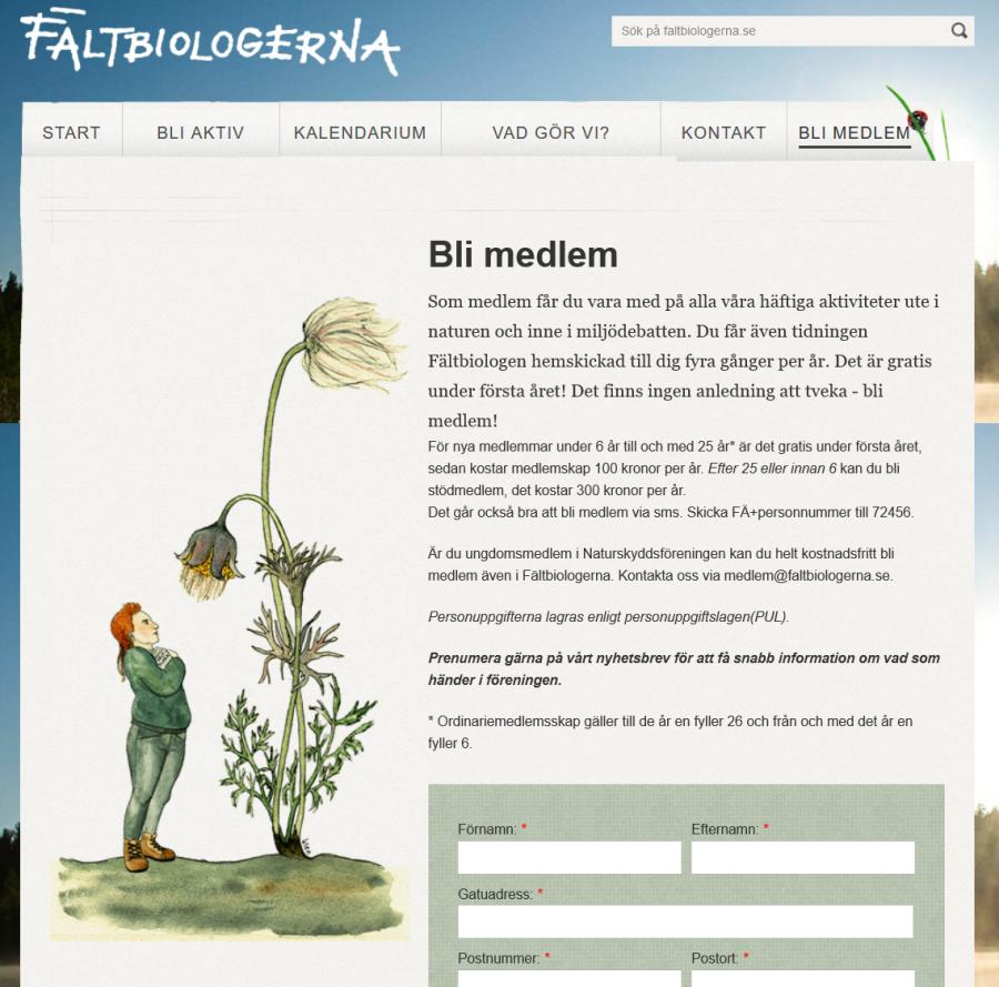 Illustration till Fältbiologernas hemsida